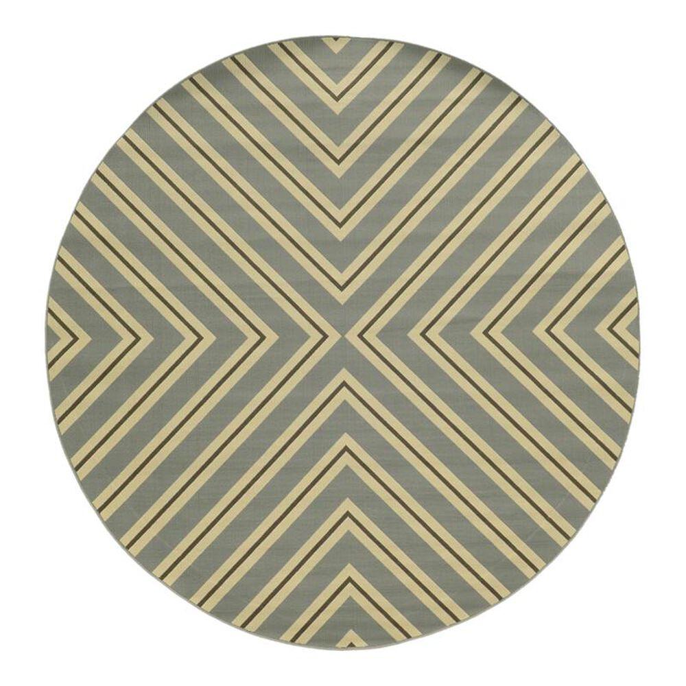 "Oriental Weavers Riviera 4589 7""10"" Round Grey Area Rug, , large"