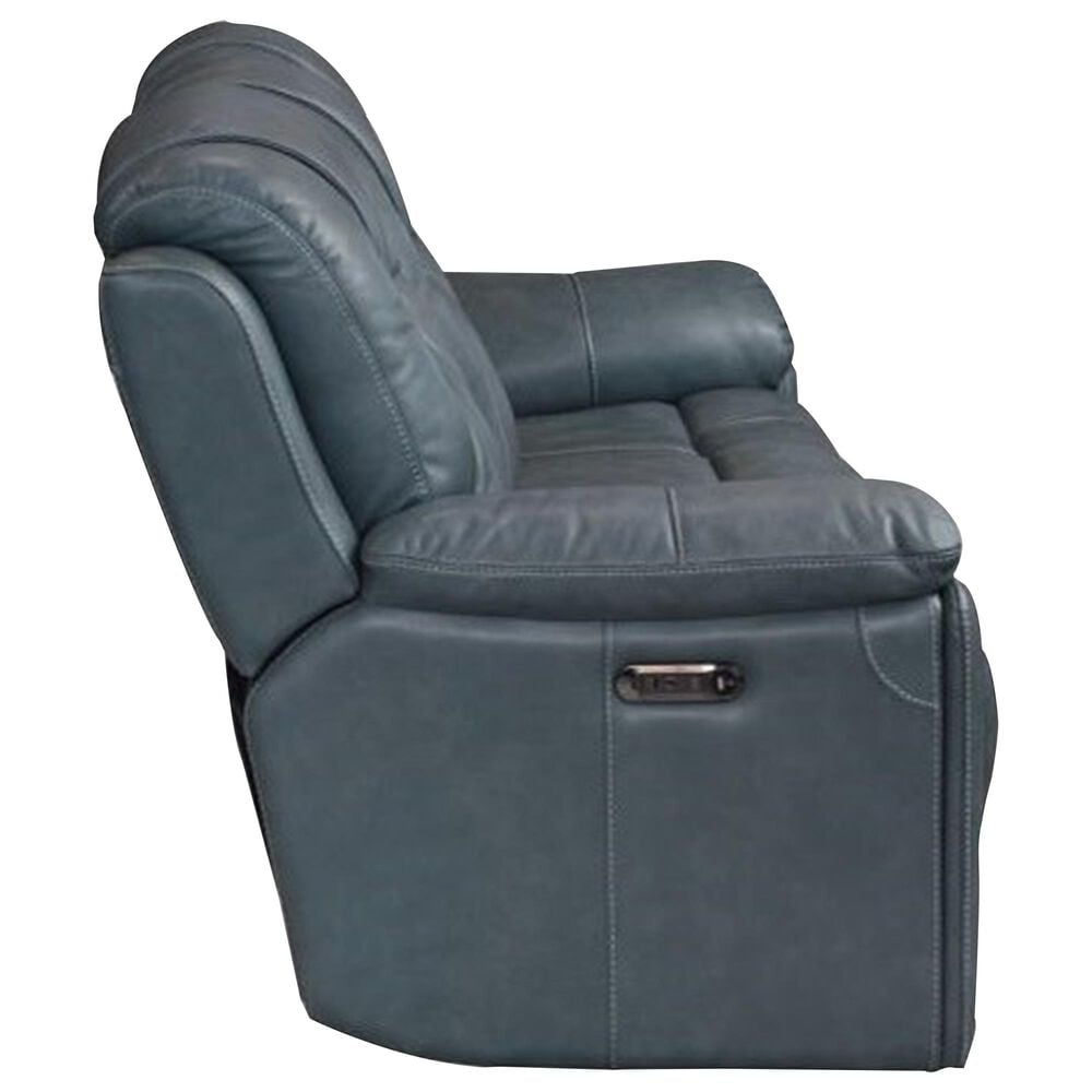 Bassett Chandler Power Recliner Sofa in Blue Gray, , large