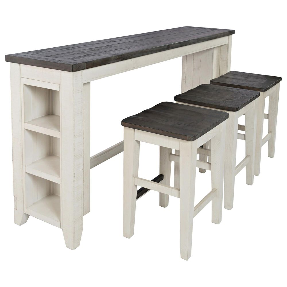 Waltham Madison County Sofa Console and 3 Stools in Vintage White and Barnwood, , large