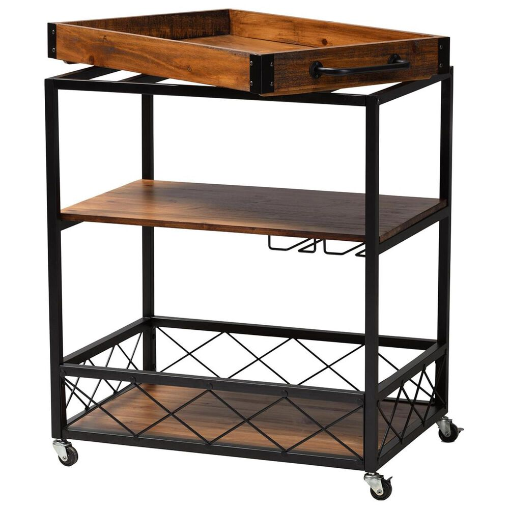 Baxton Studio Capri Bar Cart with Stemware Rack in Golden Oak/Black, , large