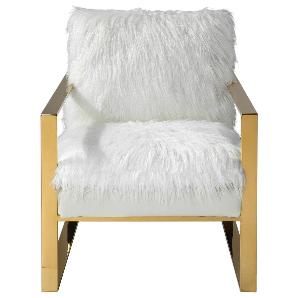 Uttermost Delphine Accent Chair in White Faux Sherling, , large