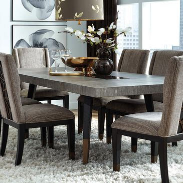 Nicolette Home Ryker Rectangular Dining Table in Black, Grey, and Aged Brass, , large