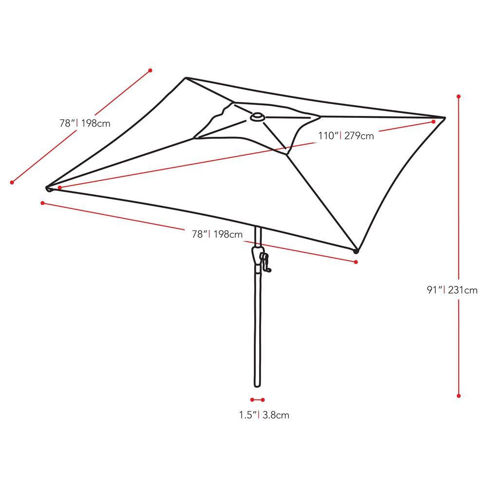 CorLiving 9' Square Tilting Patio Umbrella in Cobalt Blue, , large