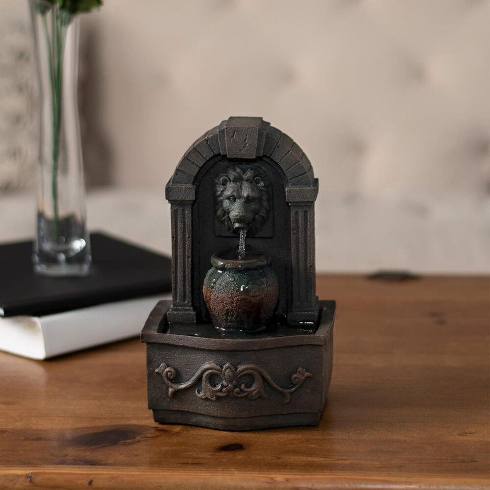 Timberlake Pure Garden Lion Head Tabletop Fountain in Gray And Rust, , large