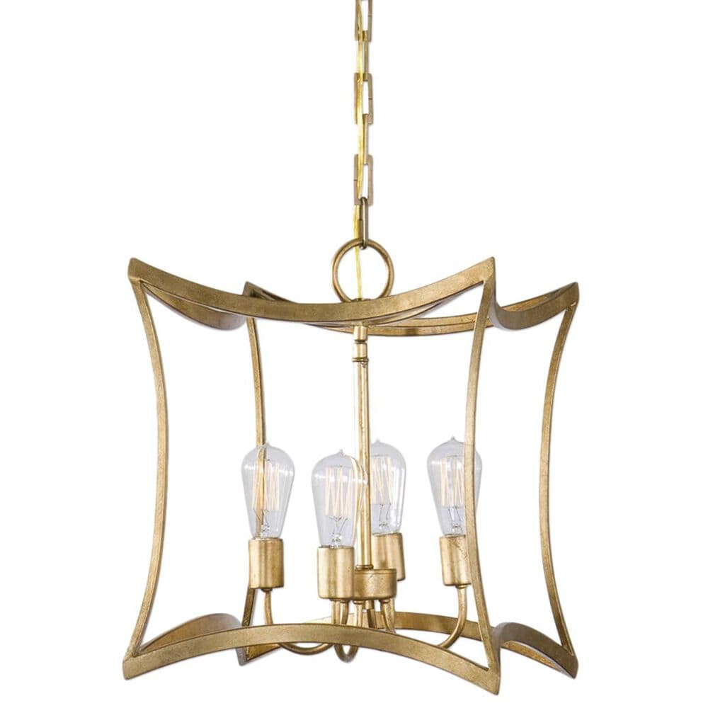 Uttermost Dore 4 Light Lantern Pendant in Gold Leaf, , large