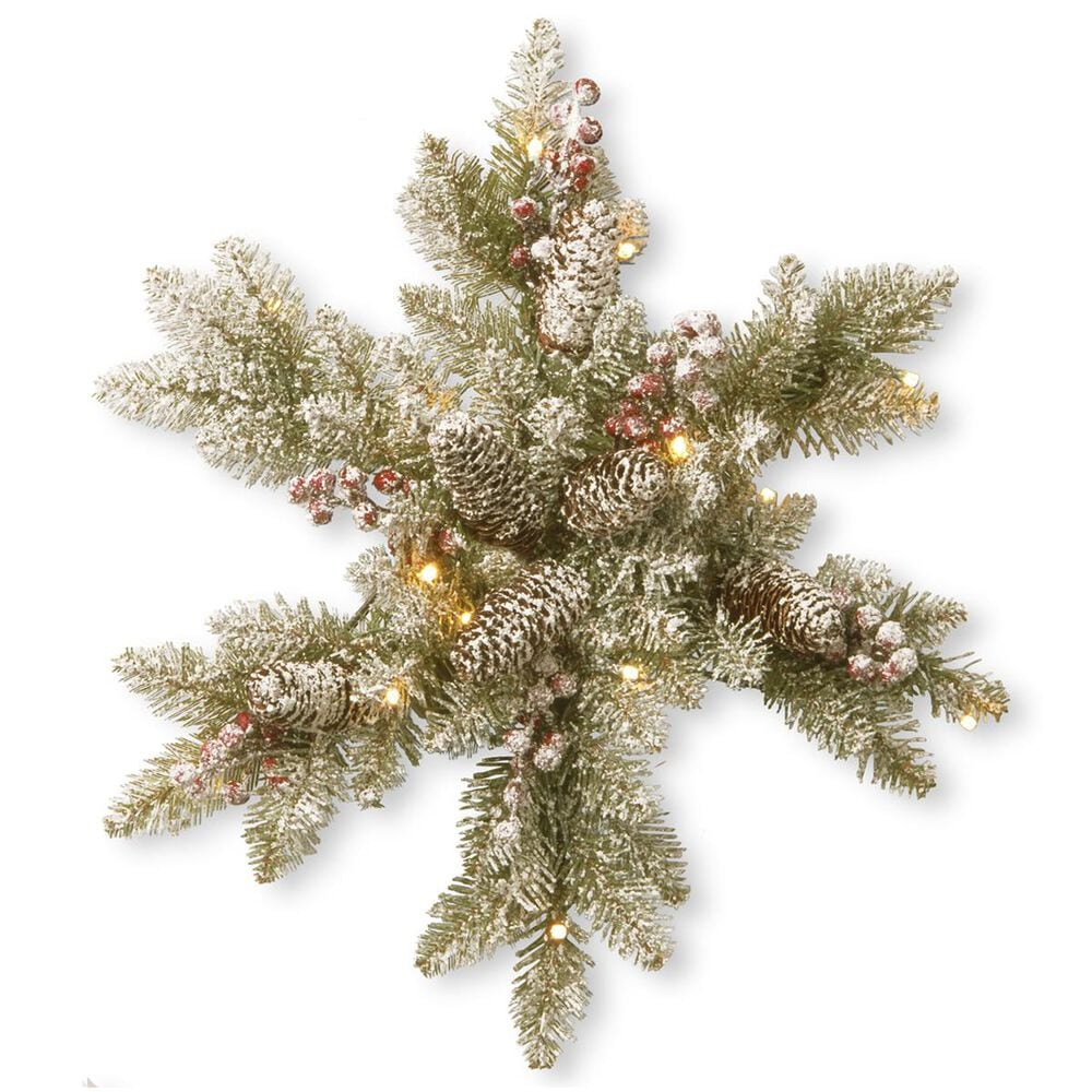 """National Tree 18"""" Snowy Dunhill Fir Snowflake with Battery Operated Warm White LED Lights, , large"""