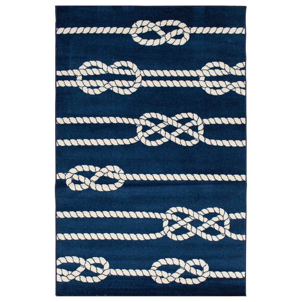 """Central Oriental Terrace Tropic Nautical Life 2337PN.085 7'10"""" x 9'10"""" Sapphire and Snow Area Rug, , large"""
