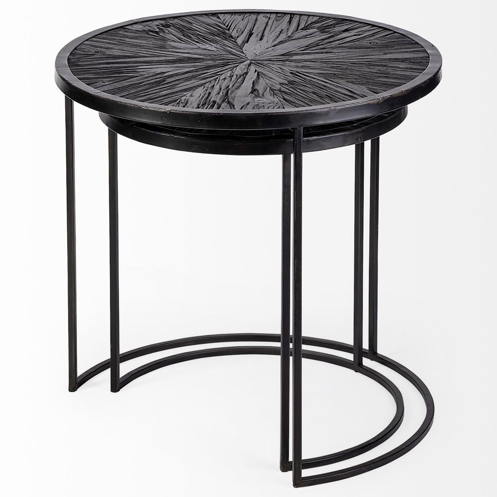 Mercana Chakra Nesting Accent Tables in Dark Wood and Black (Set of 2), , large