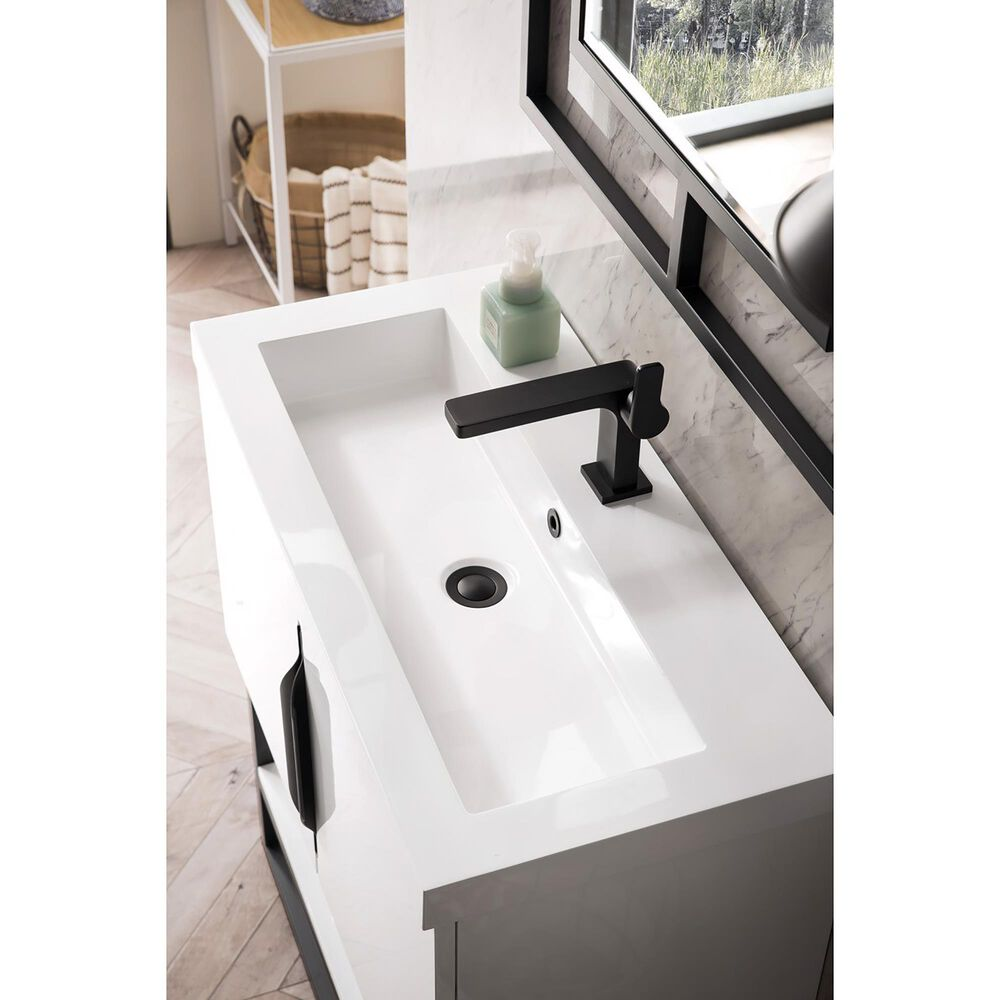 """James Martin Columbia 31.5"""" Single Bathroom Vanity in Glossy White and Matte Black Base with 5 cm White Glossy Solid Surface Top, , large"""