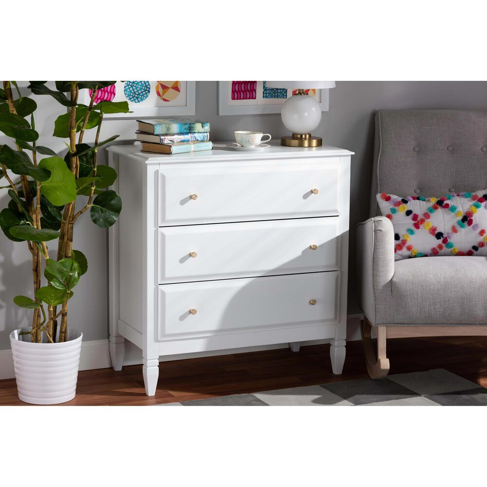 Baxton Studio Naomi 3 Drawer Chest in White/Gold, , large