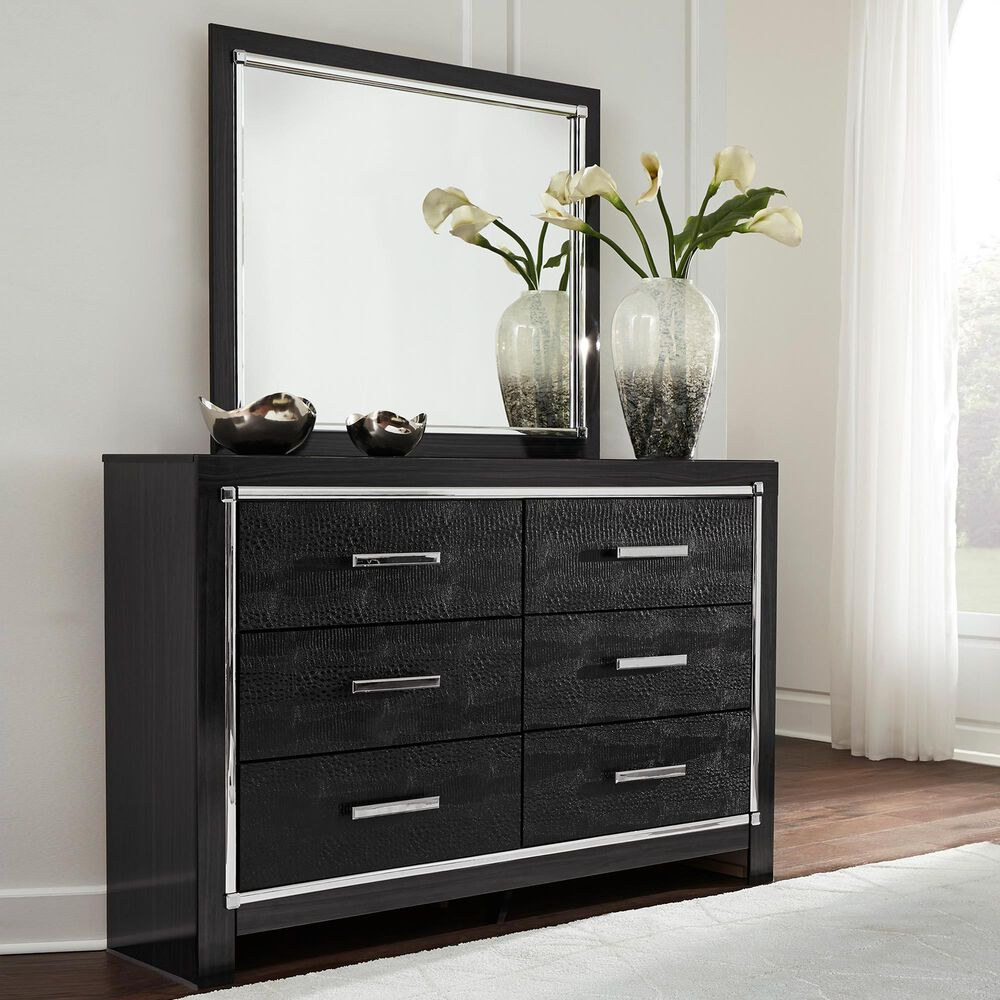 Signature Design by Ashley Kaydell 6 Drawer Dresser and Mirror in Dark Gray, , large