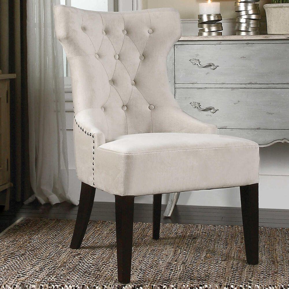 Uttermost Arlette Wing Chair in Antique White Velvet, , large