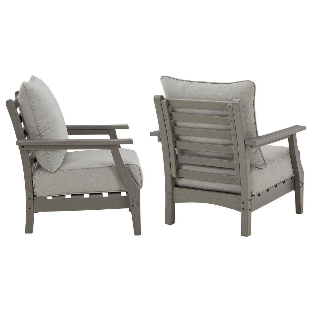 Signature Design by Ashley Visola Lounge Chair with Cushion in Gray - Set of 2, , large