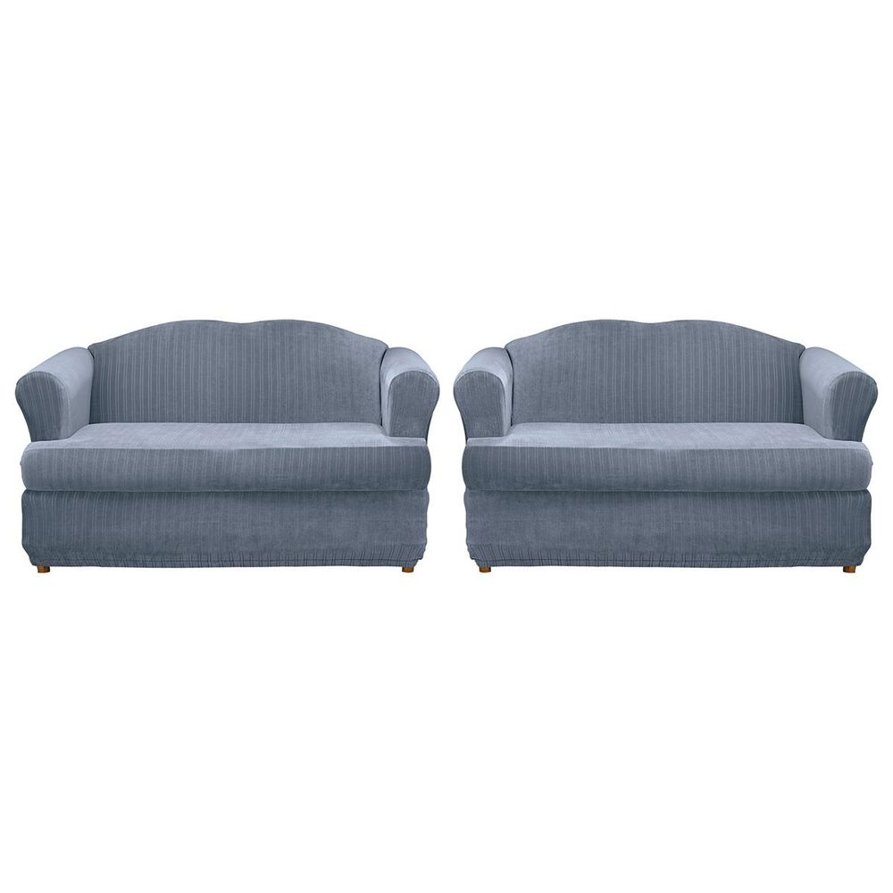 Surefit 2-Piece T-Cushion Loveseat Slipcover in French Blue, , large