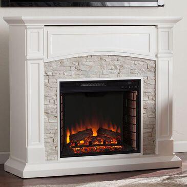 Southern Enterprises Cydos Electric Media Fireplace in Crisp White/Rustic White Faux Stone, , large