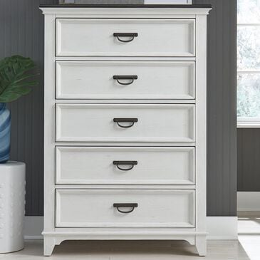 Belle Furnishings Allyson Park 5 Drawer Chest in Wire Brushed White and Charcoal, , large