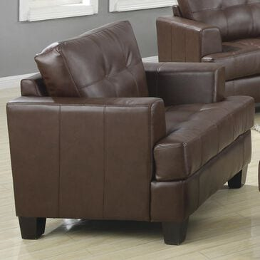 Pacific Landing Brown Bonded Leather Arm Chair, , large