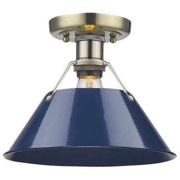 Golden Lighting Orwell AB Flush Mount in Aged Brass with Navy Blue Shade, , large