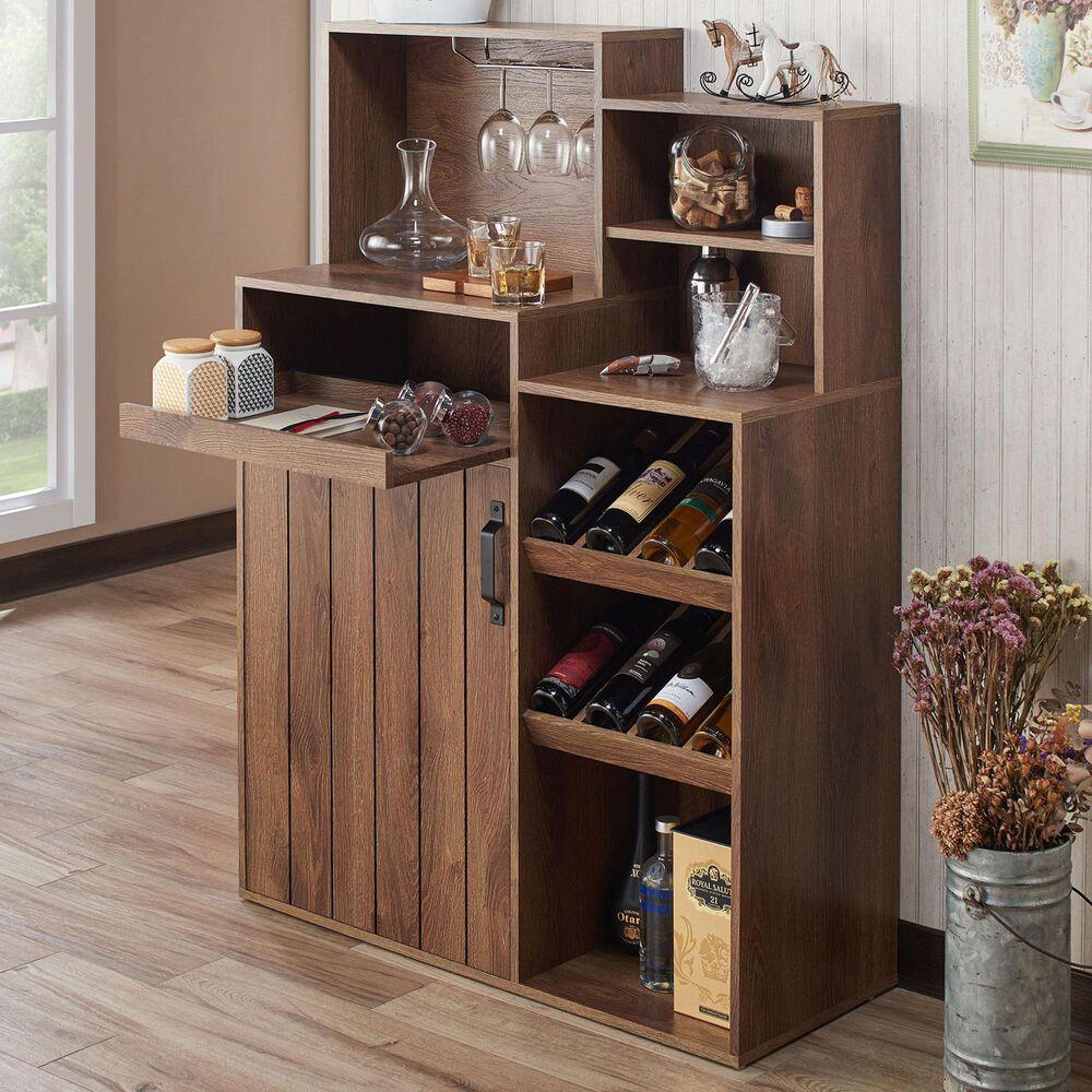 Furniture of America Davis Buffet with Wine Rack in Distressed Walnut, , large