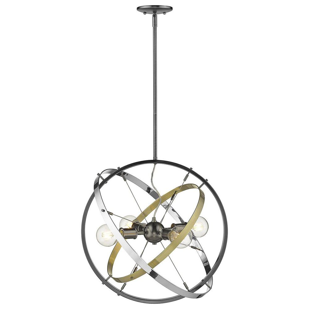 Golden Lighting Atom 4-Light Chandelier in Brushed Steel with Aged Brass and Chrome Accent Rings, , large