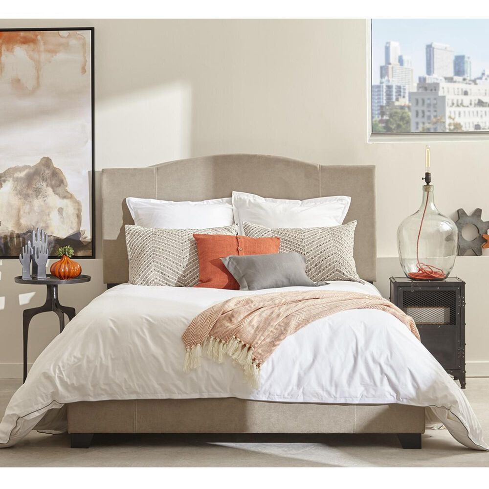 Accentric Approach Accentric Accents Benton Queen All-In-One Upholstered Bed in Denim Sand Gray, , large