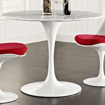 """Modway Lippa 40"""" Round Artificial Marble Dining Table in White - Table Only, , large"""