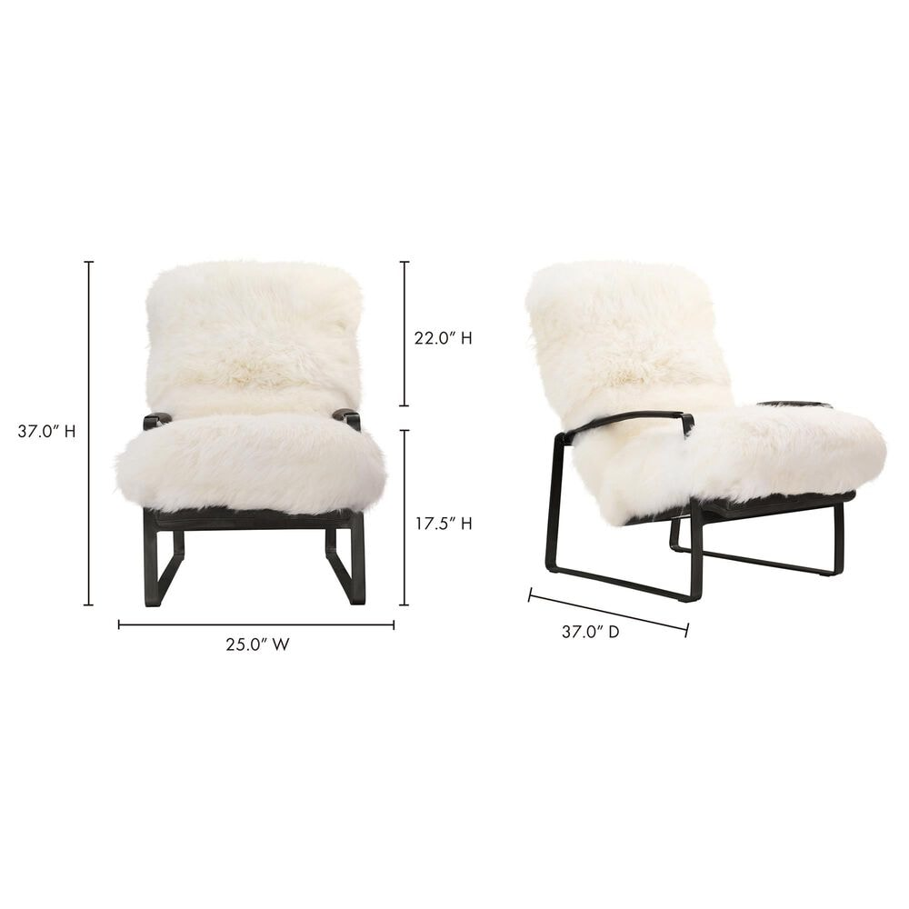 Moe's Home Collection Hanly Accent Chair in White Fur, , large