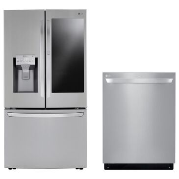 LG 2 Piece Kitchen Package 30 Cu. Ft. French Door Refrigerator and Top Control Dishwasher - Stainless Steel, , large