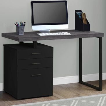 "Monarch Specialties 48"" Computer Desk in Black with Grey Top, , large"