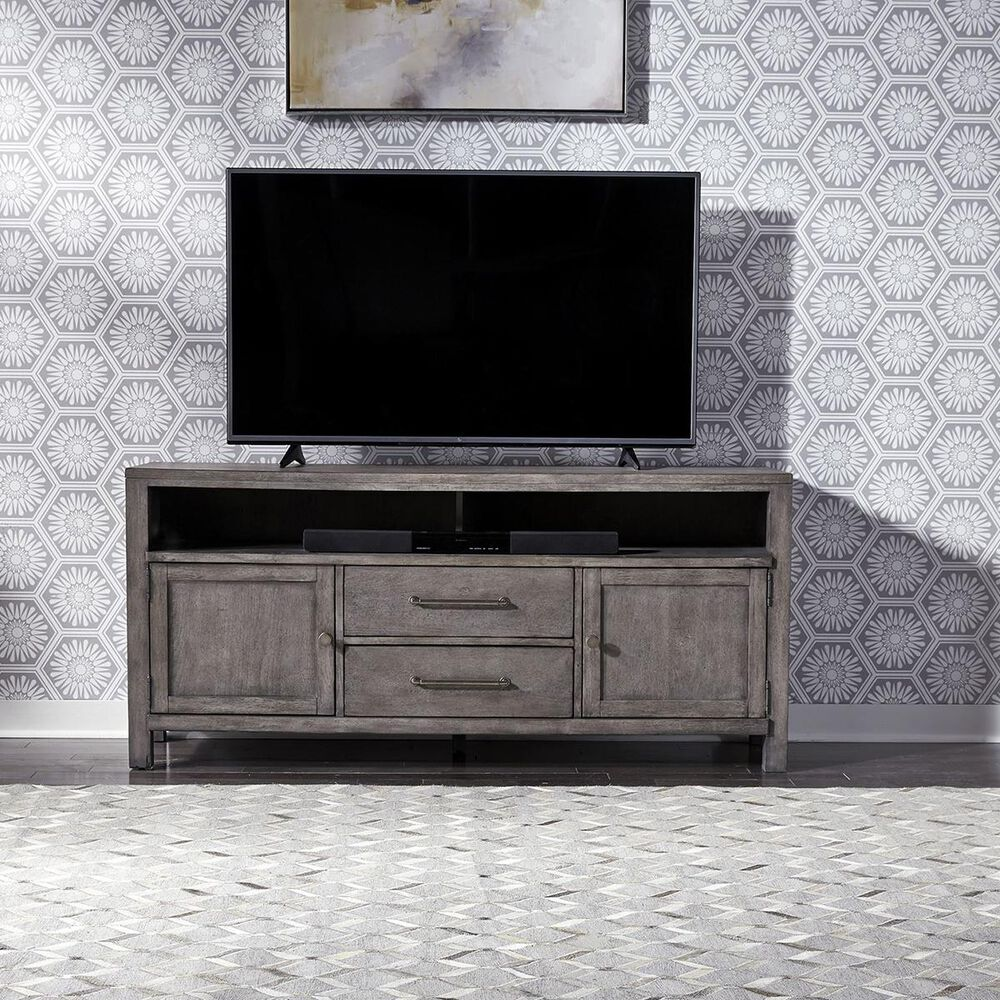 """Belle Furnishings Modern Farmhouse 66"""" Entertainment Console in Dusty Charcoal, , large"""