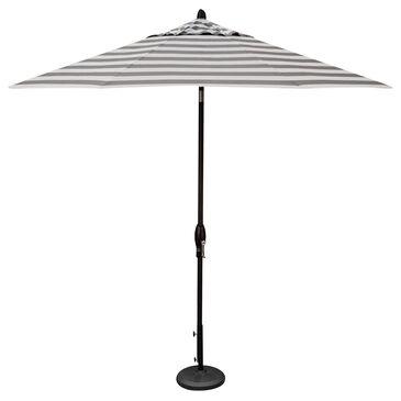 Garden Party 9' Auto Tilt Umbrella with Kinzie Smoke Stripe Canopy in Black, , large