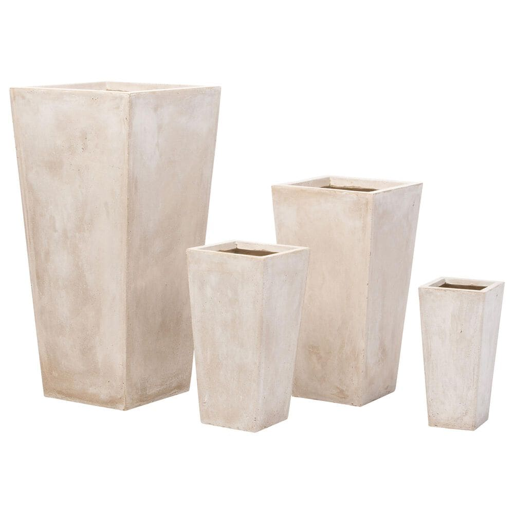 Alfresco Home Extra Large Tall Square Quarry Planter in Cream, , large