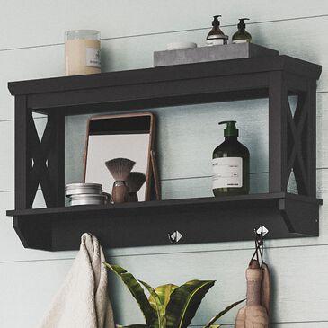 RiverRidge Home X-Frame Wall Shelf with Hooks in Espresso, , large