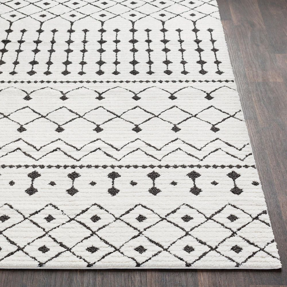 "Surya Moroccan Shag 2'7"" x 7'3"" Black and White Area Rug, , large"