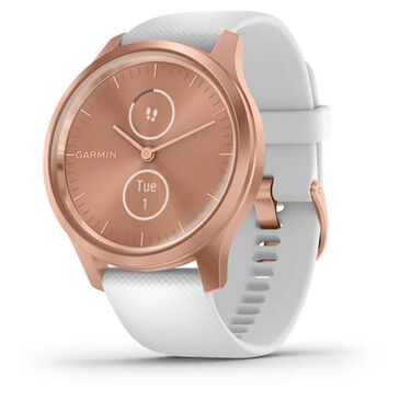 Garmin Vivomove Style Hybrid Smartwatch with White Silicone Band in Rose Gold, , large