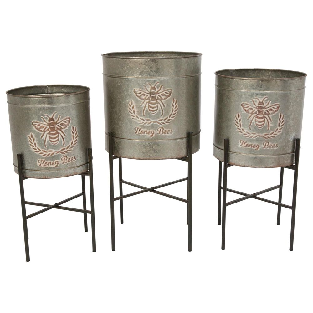 The Gerson Company Round Planters with Stands in Grey (Set of 3), , large