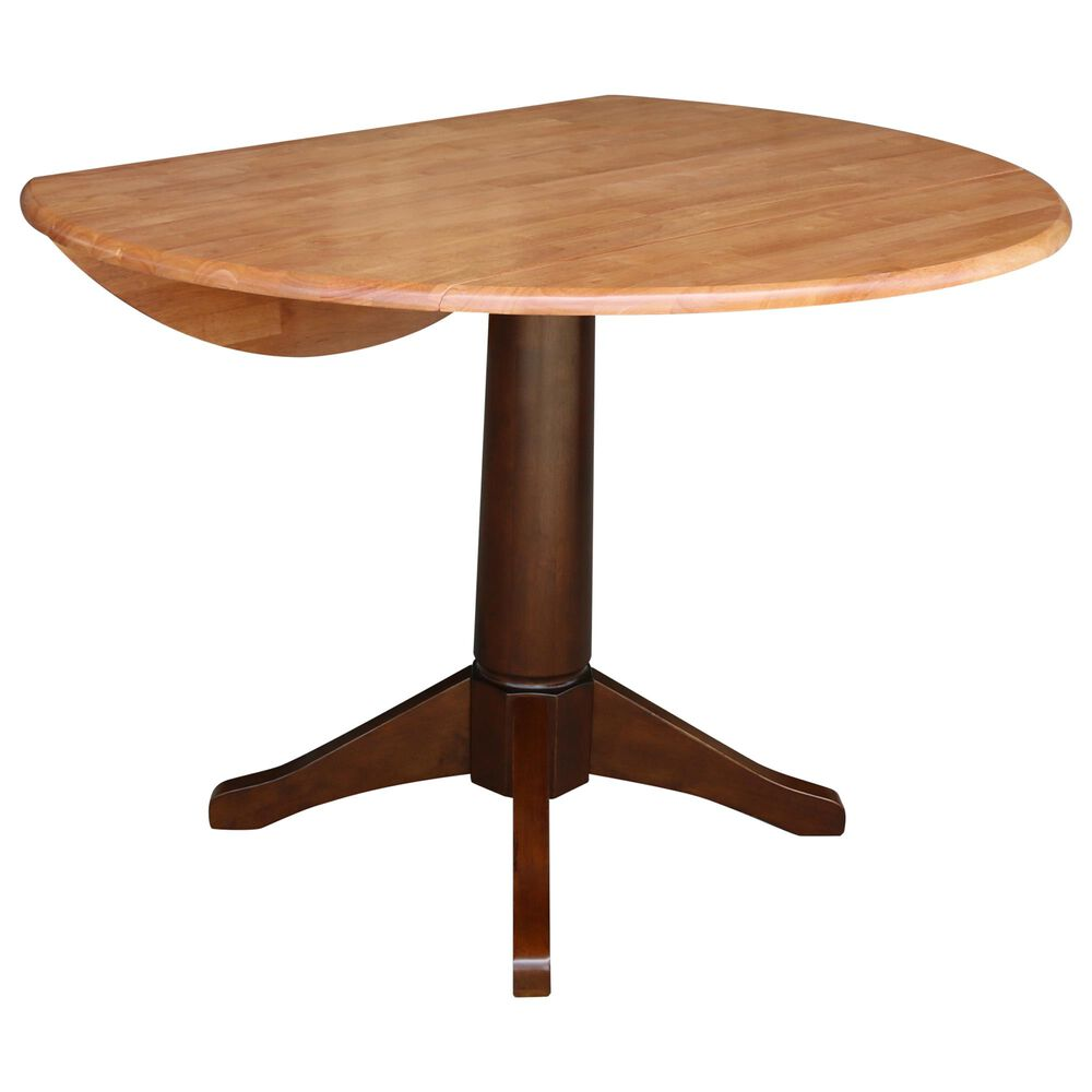 """International Concepts 42"""" Modern Farmhouse Drop Leaf Dining Table in Cinnamon and Espresso - Table Only , , large"""