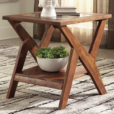 Signature Design by Ashley Charzine Rectangular End Table in Warm Brown, , large