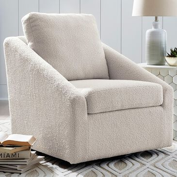 Signature Design by Ashley Wysler Swivel Accent Chair in Cream, , large