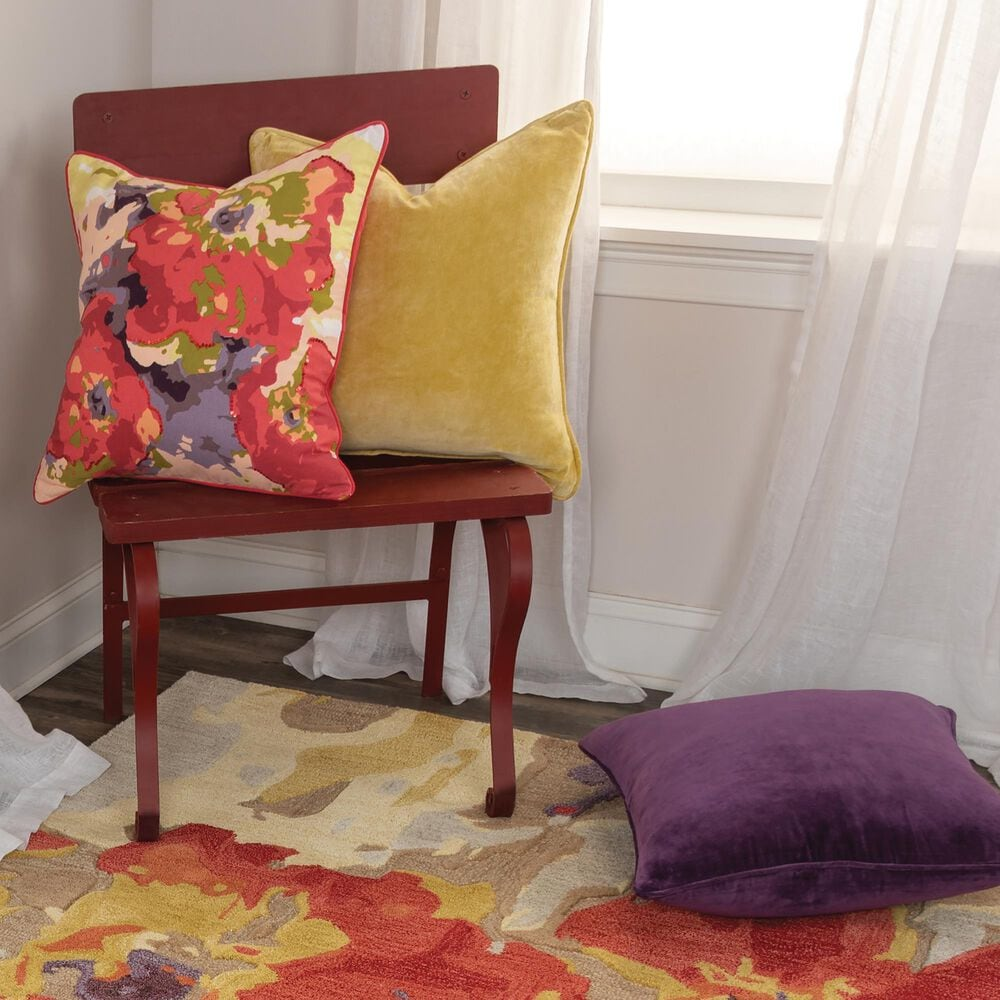 """Rizzy Home Solid 20"""" Down Filled Pillow in Violet, , large"""