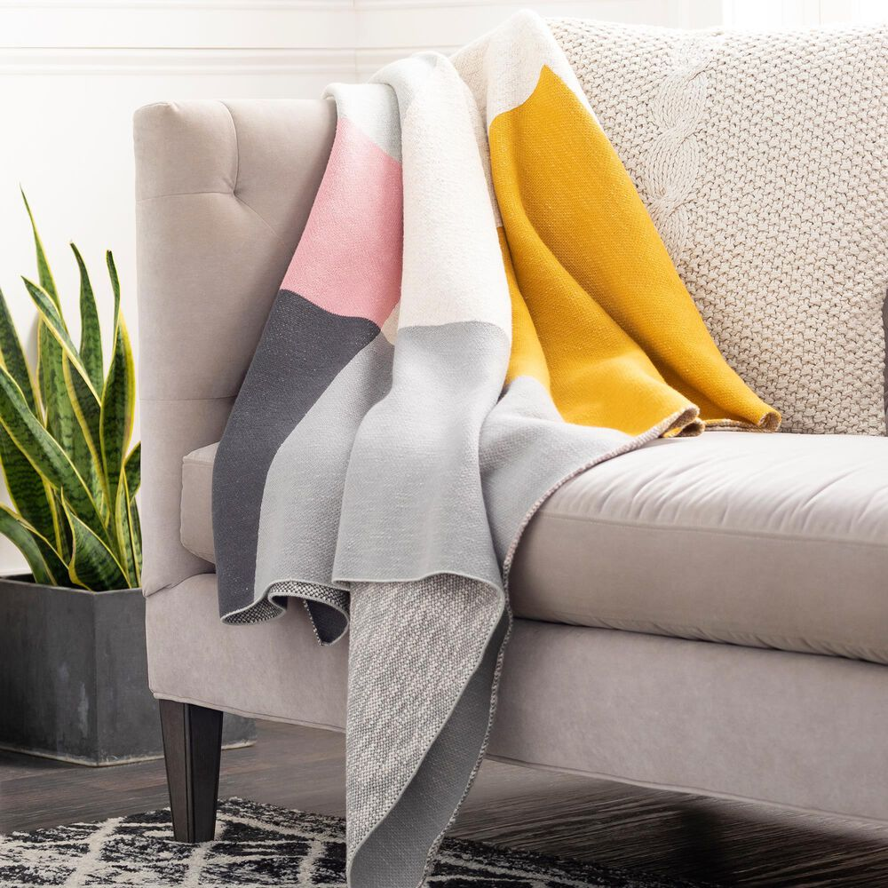 """Surya Inc Brickel 50"""" x 70"""" Throw in Gray and Rose, , large"""