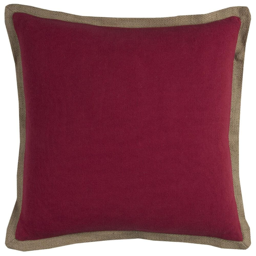 """Rizzy Home 22"""" x 22"""" Poly-Fill Pillow in Red with Brown Edge, , large"""