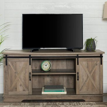 """Walker Edison 58"""" TV Stand with Siding Doors in Grey Wash, , large"""