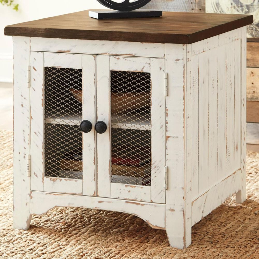 Signature Design by Ashley Wystfield End Table in Vintage White and Warm Brown, , large