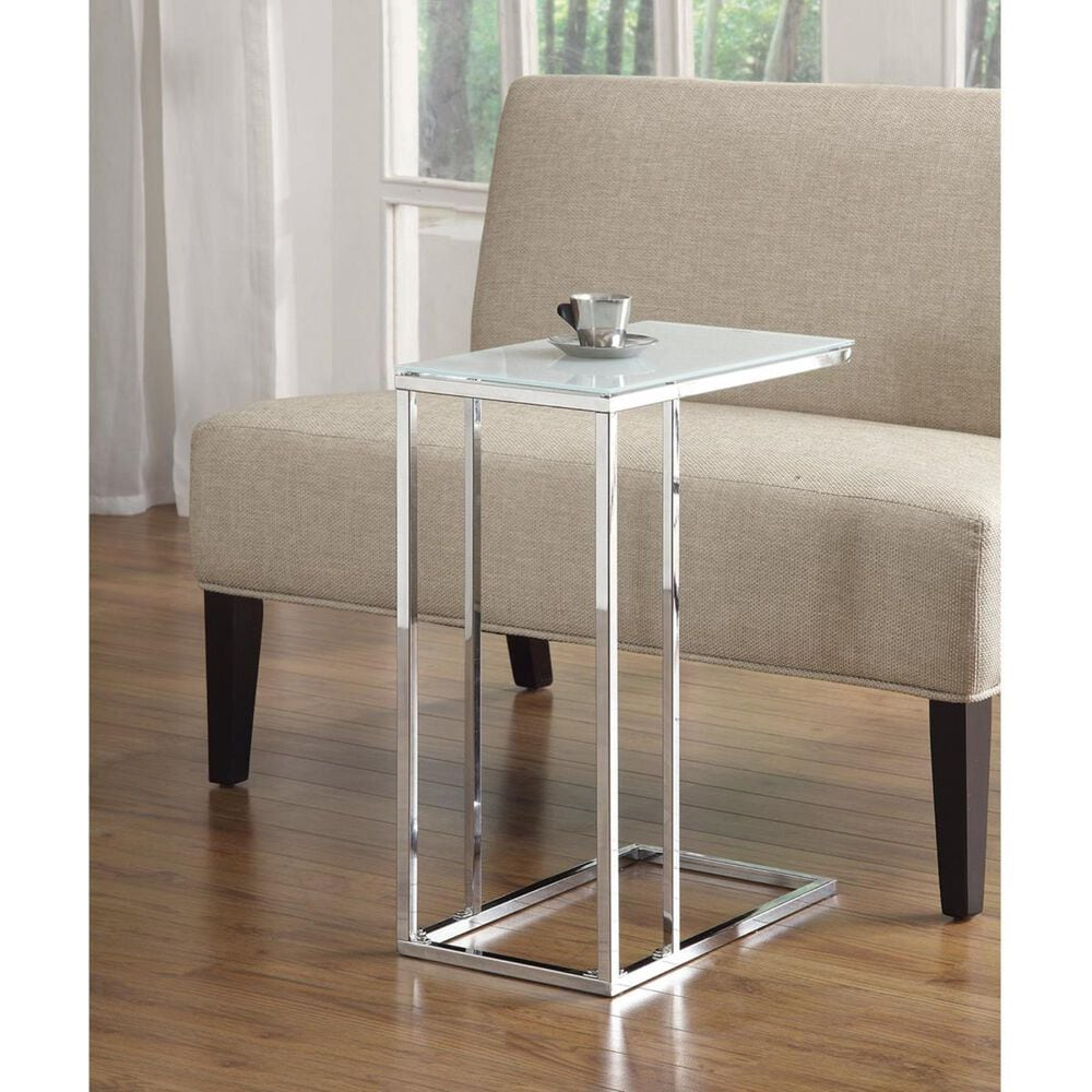 Pacific Landing Snack Table with Frosted Tempered Glass Top in Chrome, , large