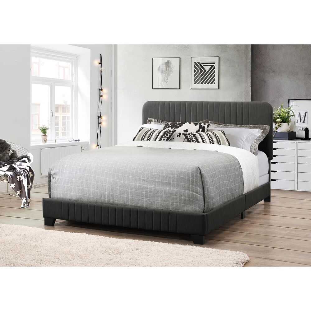 Accentric Approach Full Upholstered Bed in Black, , large