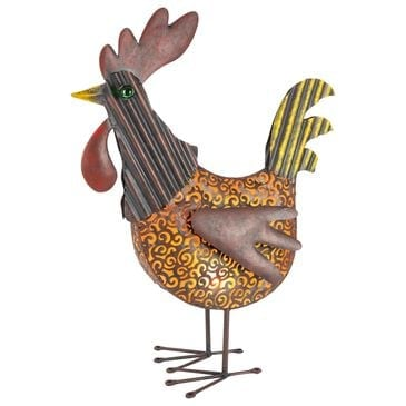 """The Gerson Company 19"""" Solar Garden Meadown Rooster in Orange and Brown, , large"""
