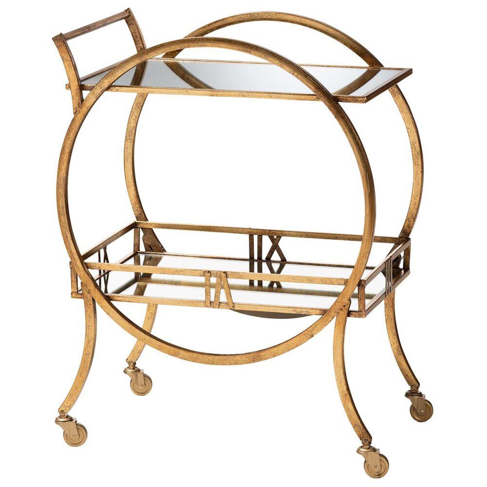 Baxton Studio Arsene 2-Tier Mobile Bar Cart in Antique Gold, , large
