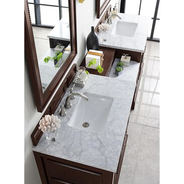 """James Martin De Soto 94"""" Double Bathroom Vanity in Burnished Mahogany with 3 cm Carrara White Marble Top, , large"""