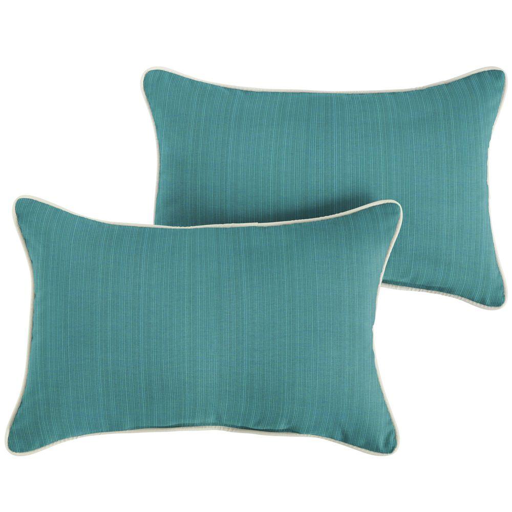 "Sorra Home Sunbrella 12"" x 24"" Pillow in Dupione Deep Sea (Set of 2), , large"